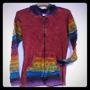 Boho Hippy Sweater Jacket Medium Sun Rainbow